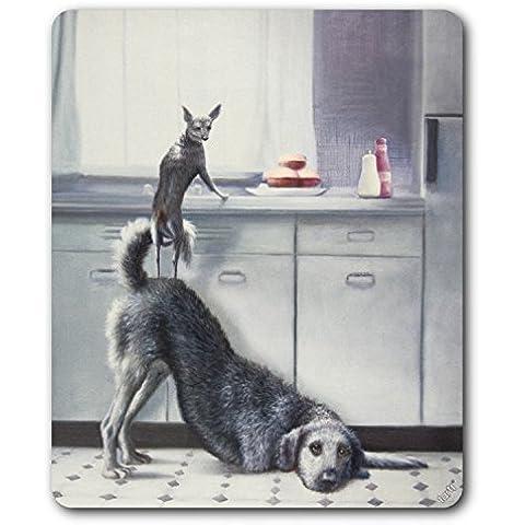 Cani - Lavoro Di Squadra, Due Cani, Tre Hamburger Tappetino Per Mouse (23 x 19cm)