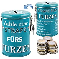Die legendäre Furzkasse - stabile Spardose Metalldose mit Schloss und Schlüssel. Bei jedem Furz muss eine Strafe bezahlt werden! Zusatzeinkommen für den Haushalt durch die Strafkasse.