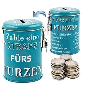 Die etwas andere Spardose – generiere Zusatzeinkommen durch die legendäre FURZKASSE aus Metall, inkl. Schloss und Schlüssel, 11 x 7,5 cm