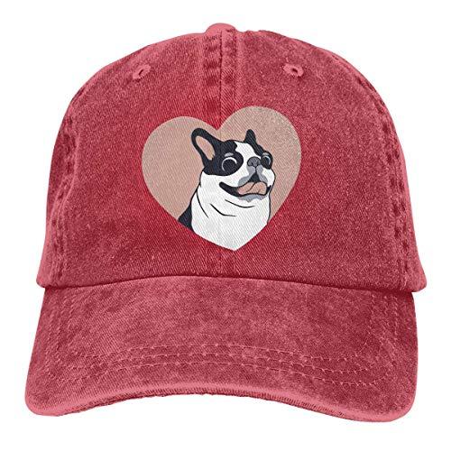 Nifdhkw Boston Terrier Love Unisex Washed Adjustable Fashion Cowboy Hat Denim Baseball Caps Fashion12 - Boston Baseball-cap Kleinkind
