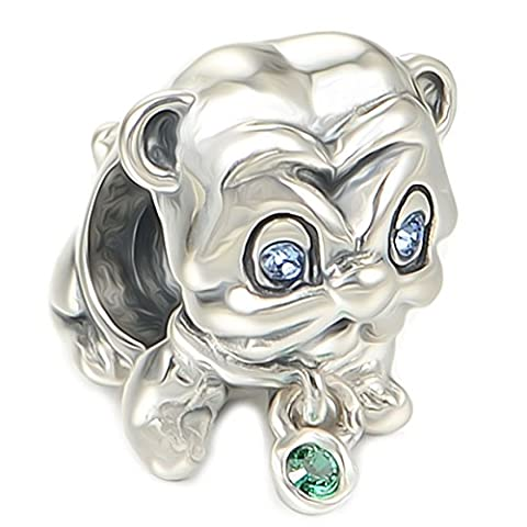 Cute Pug Dog Charm Bead - Sterling Silver 925 - Gift boxed