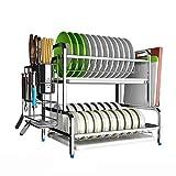 Estante de la cocina, estante para platos escurridor de acero inoxidable con bandeja 2 estantes de nivel vajilla suministros estante de drenaje