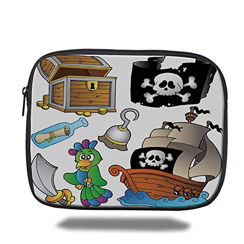 Tablet Bag for Ipad air 2/3/4/mini 9.7 inch,Pirate,Pirate Themed Collection Treasure Chest Jolly Roger Flag Ship Cutlass Parrot Cartoon,Multicolor,3D Print