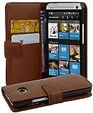 Cadorabo Hülle für HTC One M7 (1. Gen.) Hülle in Kakao braun Handyhülle mit Kartenfach aus Glattem Kunstleder Case Cover Schutzhülle Etui Tasche Book Klapp Style Kakao-Braun
