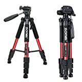 Zomei Q111 55' Pan Head Panoramic Camera Tripod Lightweight with 1/4' Quick Release Plate for Digital SLR Canon Nikon Sony Olympus Samsung etc., Red