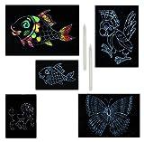 3x 4er SET Kratzbilder mit den Motiven Fisch, Pferd, Schmetterling und Papagei