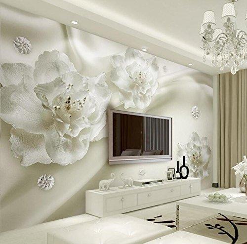 Yosot Schönes Licht Grau Blumen Im Europäischen Stil, 3D-Tv-Kulisse Wohnzimmer Schlafzimmer Wandbilder Tapeten Für Wände 3D-300Cmx210Cm