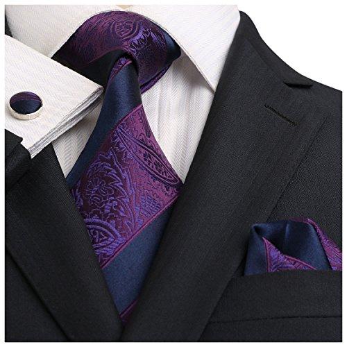 Landisun Paisleys Stripe Herren Seidenkrawatte Set: Tie + Hanky + Cufflinks 18E17 Marine Blau Lila, 59