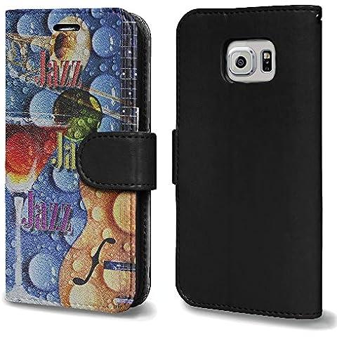 Cartoline d'epoca VP007, Jazz, Nero Portafoglio Magnetico Custodia in Pelle con Funzione di Appoggio Terrapin con Disegno Colorato per Samsung Galaxy S6 Edge Plus