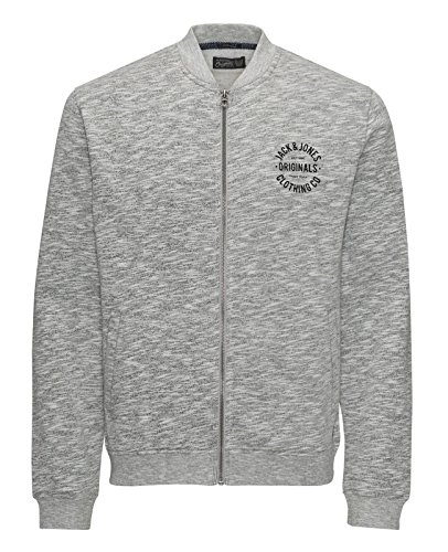 JACK & JONES Herren Jacke PADDY BREAK NICK Fitness Sport Sweatjacke Trainingsjacke leichte Jacke Laufjacke Grau (Light Grey Melange Fit:SLIM jorBREAK 2)