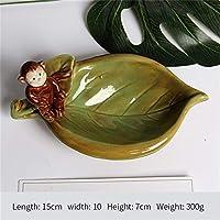 PORCN Keramik Affenblatt Creativehome Dekor Handwerk Raum Dekoration Handwerk Ornament Porzellan Neuheit Happy Birds Figur Platte, A