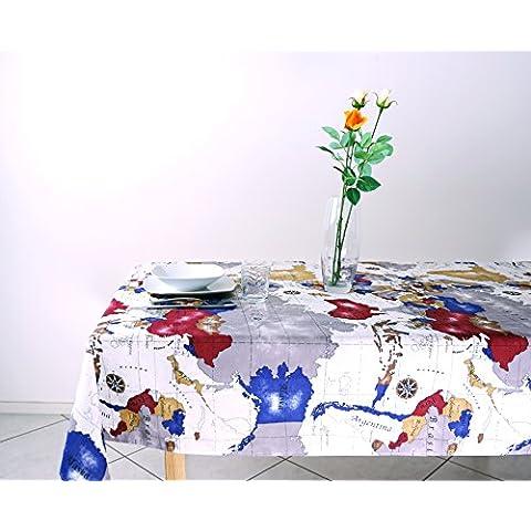 Tovaglia Rettangolare Cucina e Soggiorno Loneta In Policotone Fantasia Mappamondo mis. 140 x 240 cm (Bandiera A Scacchi Set)