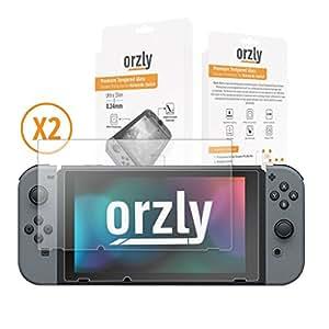 Protection écran pour Nintendo Switch en Verre Trempé par Orzly - PACK DE 2 FILMS - Premium Ultra Résistant en Verre Trempé - Revêtement Oléophobe 100% Transparent pour protéger l'écran 6.2 pouces de la console Nintendo Switch (Modèle 2017)