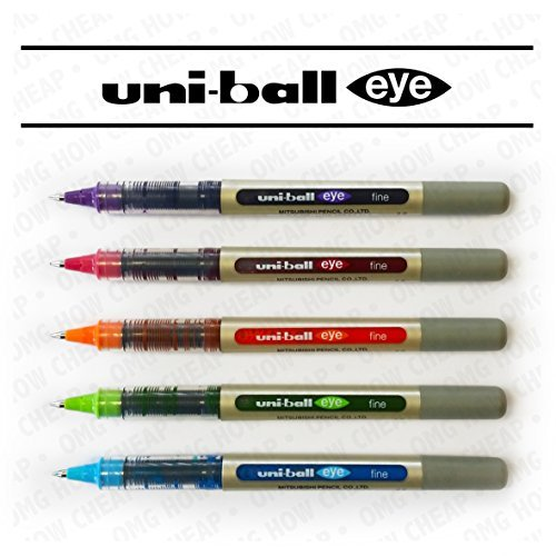 Uni-Ball EYE UB-157 Fine Liquid Ink Rollerball Pen - Tropical Set - Pack of 5 by Uni