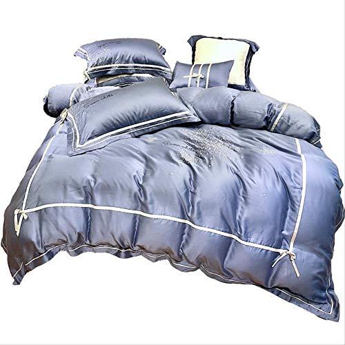 CMmin Set aus weicher Baumwolle, 4er-Set, glattes Satingewebe, Tiefe Tasche, Luxusbettwäsche, 220 x 240 cm (Color : Blue, Size : 2M) -