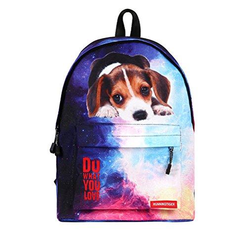 Imagen de ttd 3d cute cat/perro patrón  escuela bolsa de peso ligero  para senderismo viajes camping perro1