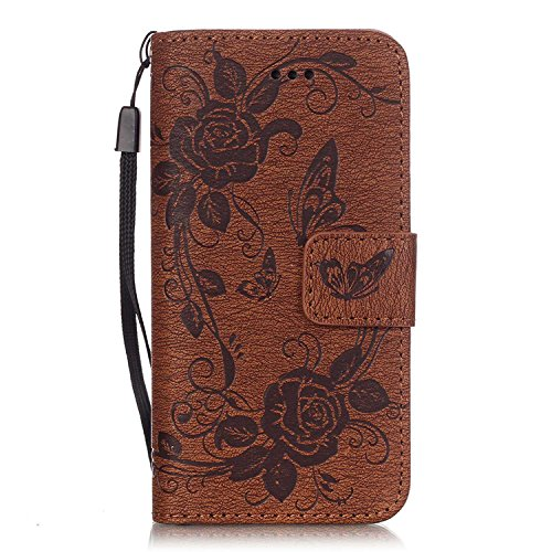 iPhone Case Cover Prägen Schmetterling PU-Leder-Schutzhülle Schmetterlings-Blumen-Schlag-Standplatz-Mappen-Kasten-Abdeckung für iPhone 5 5S SE 6 6S plus ( Color : Blue , Size : Iphone5S SE ) Brown