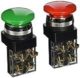 AC, 250 V, 6 A, colore: verde, Rosso, A-250 V DPST ON-OFF temporaneo Verde cappella di fungo pulsante interruttore