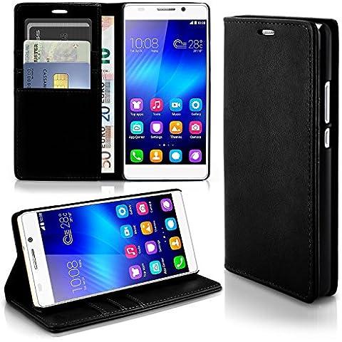 Caso casual para Huawei Honor 6 | caso práctico con ranuras para tarjetas y la función del soporte | Bolsa de protección celular OneFlow | La cubierta del tirón en Onyx