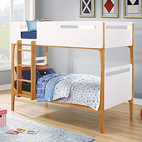 Happy Beds Islington Wooden Bunk Bed White and Oak Frame Only 3' Single 90 x 190 cm