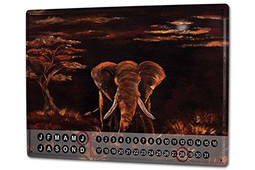 Calendario perpetuo Elefante Zoo Krakowski África estepa crepúsculo Metal Imantado