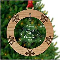 PERSONALISED 1st Christmas Married as Mr and Mrs Xmas Tree Bauble Decoration Ornament - Cherry Veneer and Acrylic Engraved Christmas Tree Ornament - Keepsake Christmas Gifts Presents