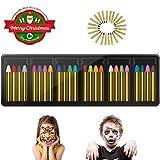 INVOKER 24 Farben Schminkstifte Party Faschingsschminke Face und Bodypaint Farbe Körperbemalung Schablone, Körper Tattoo Buntstifte Kit für Kinder, Ungiftig Einfach Waschbar