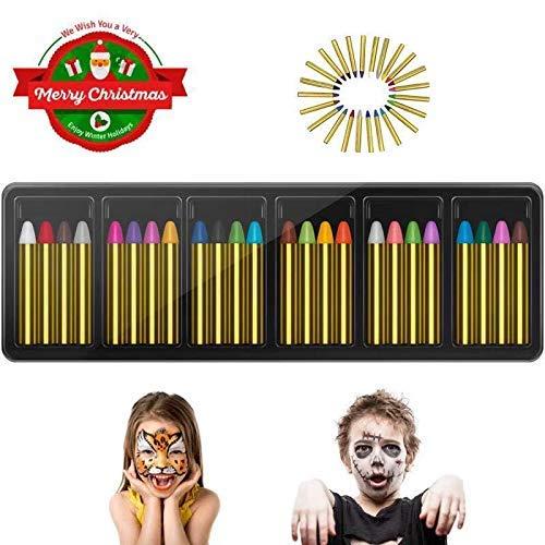 INVOKER 24 Farben Schminkstifte Party Faschingsschminke Face und Bodypaint Farbe Körperbemalung Schablone, Körper Tattoo Buntstifte Kit für Kinder, Ungiftig Einfach ()