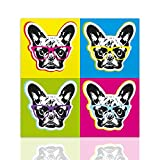 Quadro Bulldog francese pop art - quadro già intelaiato pronto da appendere dipinto su tela pop art - Colorscrazy