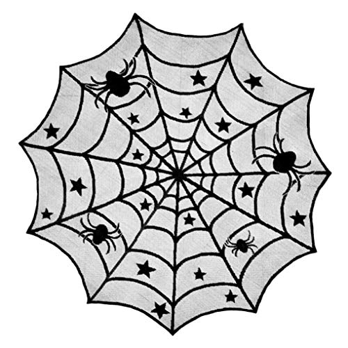 VEMOW Top Selling Halloween Party Dekoration Spinne Runde Web Tischdecke Topper Abdeckungen Kamin Tisch Party Decor 102cm(Schwarz, 102cm)