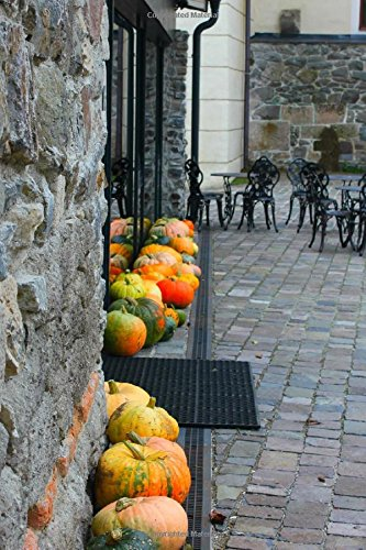 Autumn Pumpkins and a Cobblestone Courtyard Journal: 150 Page Lined Notebook/Diary -