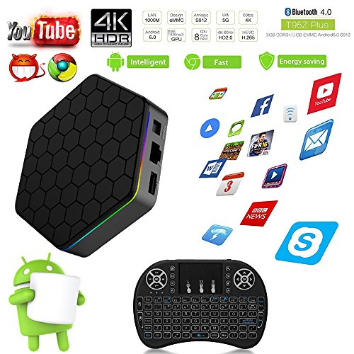 Aoxun Android 6.0 TV Box Caja inteligente T95Z más CPU Amlogic S912 Octa-core 64 Bits 3GB RAM 32GB ROM con un teclado inalámbrico Wifi dual inteligente set-top boxes Bluetooth 4.1 y True 4K Jugando Smart TV Box(3 + 36G + FS)