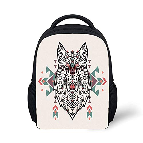 Kids School Backpack Tribal Decor,Charming Lion Like Wolf Head with Paisley Ethnic Ornaments Print,Pearl Coral and Teal Plain Bookbag Travel Daypack North Face Pearl