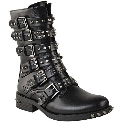 Damen Ankle Boots im Biker-Stil - mit Nieten, Riemen & Schnallen - flach - Schwarz Kunstleder - EUR 40 (Damen-western-stiefel Knöchel)