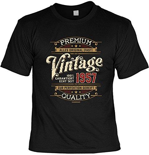 Geschenkidee tolles T-Shirt zum 60. Geburtstag Leiberl Geschenk zum 60 Geburtstag 60 Jahre Geburtstagsgeschenk Papa Opa 60-jähriger Echt seit 1957 Schwarz