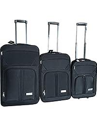 McAllister Roll maletín diferentes tamaños M L XL–Maleta de viaje Set Maleta Bolsa de viaje con ruedas (Bolsa de deporte bolsa de viaje Negro negro Talla:extra-large
