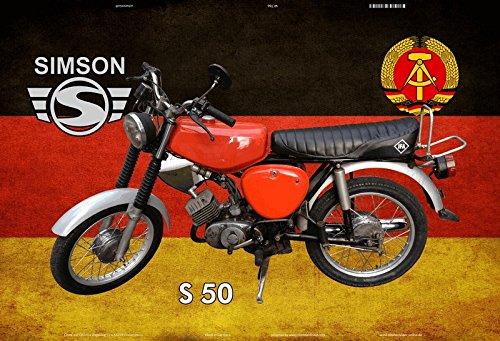 Schatzmix Simson S50 DDR Motorrad mofa Moped Scooter blechschild
