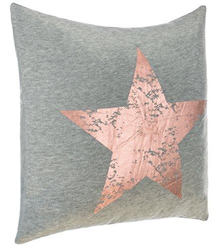 Dekokissen Zierkissen Couchkissen Sofakissen Motivkissen Sterndruck - mit Füllung kuschelig und weich - Größe: 45x45 cm - Grau/Kupfer