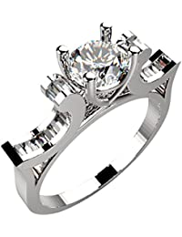 Ring For Women With Certified Real Diamond Taper Baguette Diamonds Wt 0.16 Ct In Sterling Silver 925, Silver Taper...