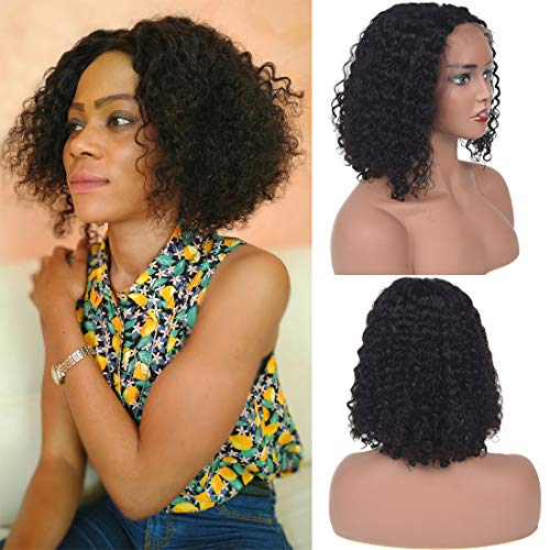 Short Curly Lace Front Human Hair Wigs 10A Human Hair Lace Front Wigs for Black Women 150% Density Unprocessed Brazilian Human Hair Wig Curly (12 inches) -