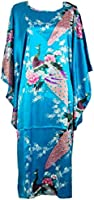 Shanghai Tone® Nightgown Kimono Robe Sleepwear Lake Blue One Size
