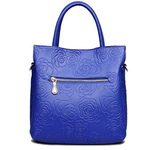 Damen Zwei Sätze Von Europäischen Und Amerikanischen Mode Handtaschen Umhängetasche Paket Darkblue