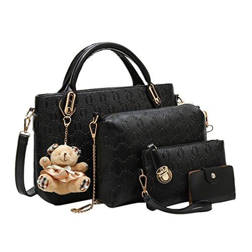 iTECHOR 4 Stück reine Farben-Prägung PU-Handtaschen -Schulter-Beutel-Geldbeutel -Karten-Beutel-Lash-Paket - Schwarz (Schulter-bluse Aus Seide)