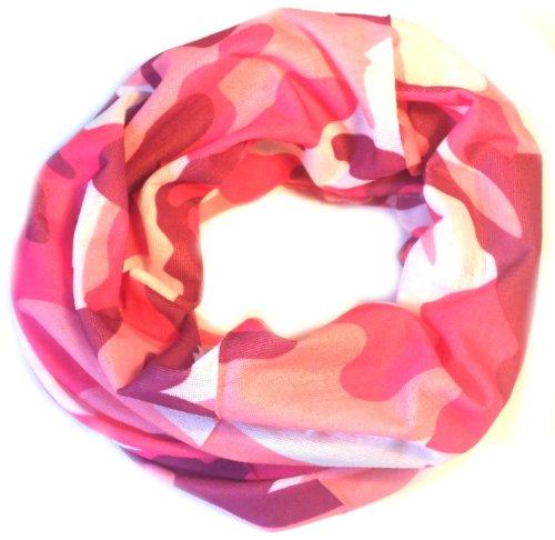 PRESKIN - panno multifunzionale usato come un foulard, sciarpa al collo, sottocasco, fascia, scalda polso, cappello, bandana, sciarpa, loop, guaina del collo, sciarpa pirata, gonna o alla cintura sulla testa, al collo o al braccio (123MultituchArmyPink)