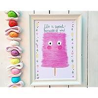 SWEET LIFE Poster Din A4 Zuckerwatte Kinderzimmer Süßigkeiten Naschkatze rosa Wolke bunt Kinderzimmer Deko Candy Bar Hochzeit süß
