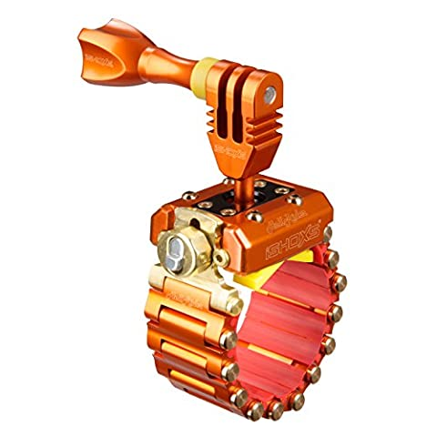 iSHOXS Action-Cam-Halterung Hell Rider SE - Voll-Aluminium-Ausführung, GoPro Motorbike Mount, 20-42 mm Durchmesser (erweiterbar bis 200 mm), egal ob rund, oval oder eckig - mit Schloss - Orange