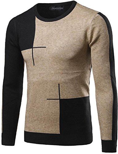 jeansian Herren Slim Fit Design Long Sleeve Under Knit Sweater Shirt Pullover Jumper Top 88J5 Black