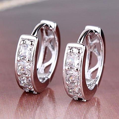 Special UK jewelry Pave Princess Orecchini Topazio Bianco 18K oro bianco placcato Huggie Orecchini Lady Fancy Bling Orecchini e132a per donna - Fancy Gioiello