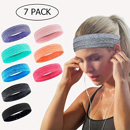 Paquete de cabezal 7 Banda de sudor de la Mujer y hombre - Deportes badana diadema Set - Idear...
