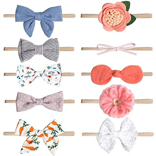 Voiks Baby Headbands 10Pcs Baby Girl Headbands Hair Bow, Baby Bows and...
